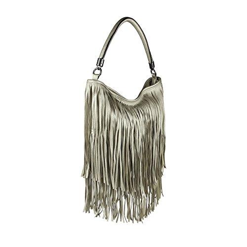 Umhängetasche Henkeltasche Silber Tasche Handtasche Hobo ital Shopper Fransen Schultertasche design Schwarz Damen Bags qx0v1Rng