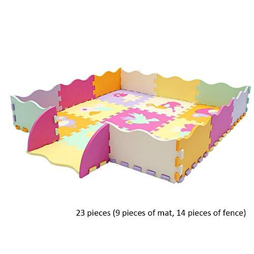 Luerme 23 Stück Baby-Schaumstoff-Spielmatte mit Zaun Baby-Kind-Kleinkind-Spielkriechmatte Teppich-Playmat-Schaumdecke-Teppich-Ineinandergreifende kriechende Matte für Kinder Weichschaum-Spielmatte - Baby Zaun
