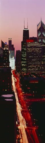 The Poster Corp Panoramic Images - Sunset Aerial Michigan Avenue Chicago IL USA Photo Print (91,44 x 30,48 cm)