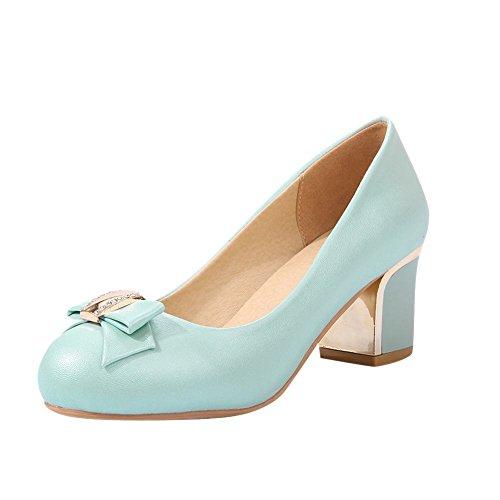 Mee Shoes Damen modern bequem süß dicker Absatz runder toe Strass mit Schleife Geschlossen Pumps Blau