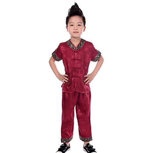 DAZISEN Jungen Tang Anzug - Kinder Kurze Ärmel -