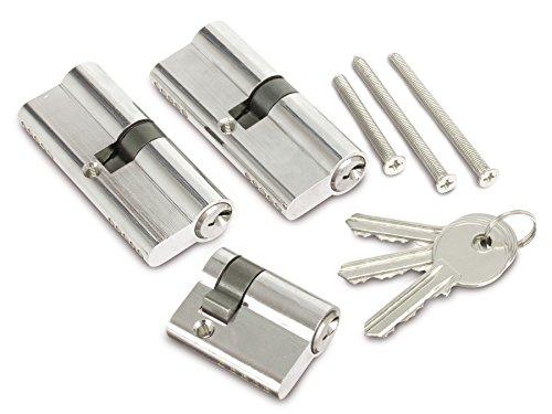 3 Profilzylinder 2 x 75 und 40mm, 3 Schlüssel Schließzylinder Gleichschließend