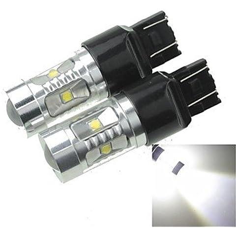 FULLModerna lampadina auto 2xT20 7443 W21 21W W3X16Q 30W 6x bianco freddo 2100LM 6500K segnale (Girata Del Lato Del Segnale Indicatore Luminoso)