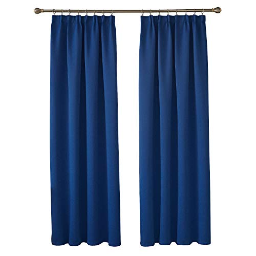 Deconovo Cortinas Opacas para Dormitorio Infantil y Sala de Estar de Poliéster 2 Paneles 117 x 229 cm Azul