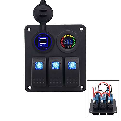 TurnRaise 4.2a Toma USB + 12v Voltímetro Digital LED + Interruptores para...