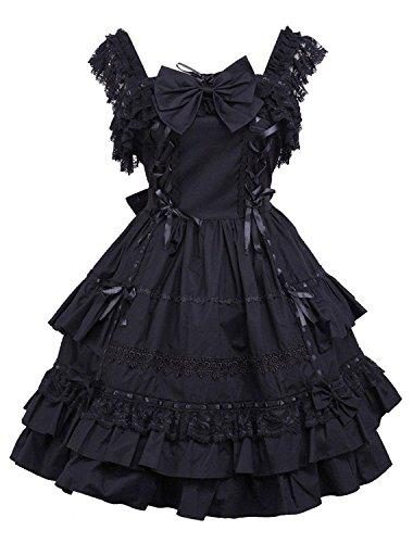Cemavin Gothic Lolita Kleid JSK schwarzen Rüschen Bow Trim Lolita Jumper Spitzenrock (Trim Jumper)