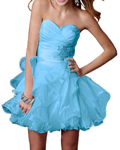 Gorgeous Bride Zaertlich Herzform A-Linie Organza Kristall Cocktailkleider Partykleider Festkleider Style B-Blau