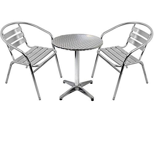 Wohaga 3er Set Gartenmöbel Gartengarnitur Aluminium Bistrogarnitur Bistrotisch Stehtisch Ø60cm Tischplatte Schleifoptik + 2X stapelbare Bistrostühle - Silber
