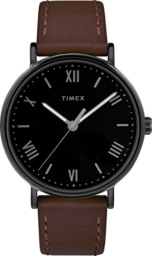 Timex Herren Datum klassisch Quarz Uhr mit Leder Armband TW2R80300 (Timex Armband Leder)