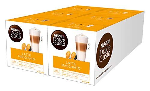Nescafé Dolce Gusto Latte Macchiato | 96 Kaffeekapseln | Aromatischer Espresso | 3-Schichten -Köstlichkeit aus feinem Milchschaum | Aromaversiegelte Kapseln | 6er Pack (6 x 16 Kapseln)