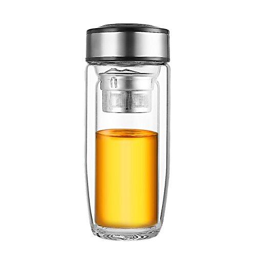 oneisall Doppelwandiges Glas Tee-Ei Wasser Flasche, 280ml Fassungsvermögen, perfekt für Trinken losen Tee, Eis, Tee oder Ziehen Geschmack in - Wand-glas-tee-reise-becher