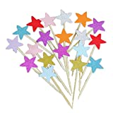 STOBOK Glitter Colorati Stelle Cake Toppers Paper Pentagram Cake Picks Fruit Picks Cake Decorating Toppers Compleanno Wedding Party Favors / 50Pcs-Colore Misto