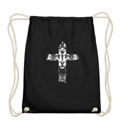EBENBLATT Jesus Löwe Kreuz Christentum Gott Maria Krippe Christlich Weihnachten 2018 Kostüm Geschenk - Baumwoll Gymsac -37cm-46cm-Schwarz