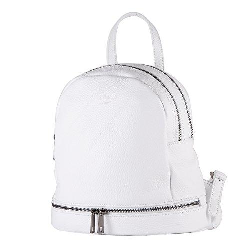 BORDERLINE - 100% Made in Italy - Echtes Leder Rucksack - SONIA (Weiß)