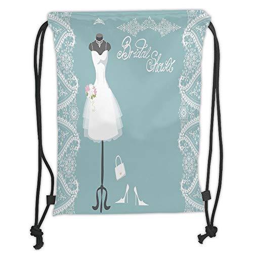 LULUZXOA Gym Bag Printed Drawstring Sack Backpacks Bags,Bridal Shower Decorations,Vintage French Inspired Bride Dress with Floral Frames,Baby Blue and White Soft Satin Satin Floral Dress