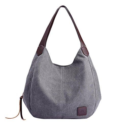 Verrückte Rabatt-Saison UFACE Frauen Leinwand Solid Color Portable UmhäNgetasche Handtaschen Vintage Hohe QualitäT Weibliche Hobos Einzelne UmhäNgetaschen (Grau)