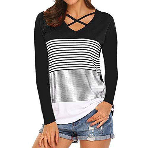 TEFIIR T-Shirt für Frauen, Mitgliedertag Sommer-Räumungsabwicklung,günstige Preisaktion Frauen-Damen-Streifen-Spleiß-T-Stück langärmlige beiläufige Oberseiten-Bluse Geeignet für Freizeit und Urlaub - Tie-front Woven Shirt