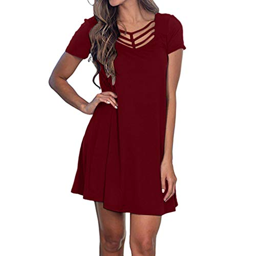 LILIHOT Frauen Sommer Kurzarm Swing T Shirt Kleid Criss Cross Ausschnitt Casual Dress Boho Bohemian Kleid Vintage Kleid Lose Casual Swing Kleid Sommerkleid A-Linie Minikleid Swing Strandkleid
