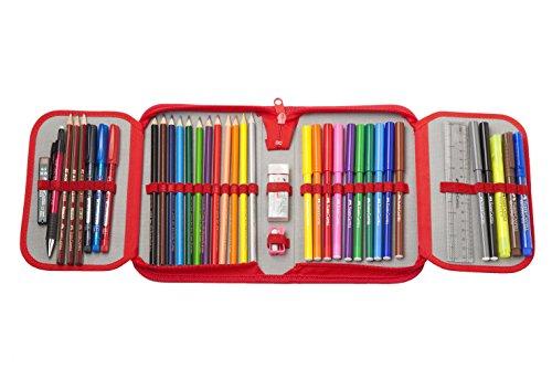 Faber-Castell 573005Federmäppchen Schul-Grip mit Reißverschluss mit Einzelfarbe Color Grip 12 Öko-Bleistifte und 12 Filzschreiber