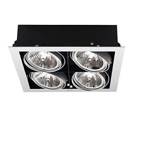Decken-Einbau-Downlight - 4-flammig - quadratische Form 33,5cm x 33,5cm | Leuchte IP20 | Deckenleuchte eckig | Deckenlampe + Gratis LED-Taschenlampe