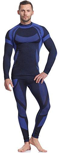 Ladeheid Herren Funktionsunterwäsche Set langarm Shirt lange Unterhose Thermoaktiv Schwarz/Navyblau
