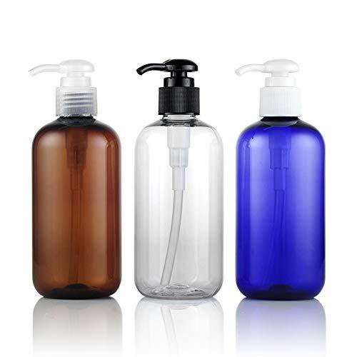 3 STÜCKE 250 ML 8,5 UNZE Braun Blau Transparent Leere Nachfüllbare Kunststoff Lotion Drücken Pumpflasche mit Zufällige Farbe Pumpenkopf Shampoo Conditioner Jar Kosmetische Behälter - Conditioner Jar