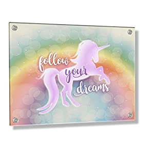 Feel Good Art Wall Mounted Acrylic Frame with Stand Off Bolts, 60 x 40 x 0.6 cm, Unicorn Design/Follow Your Dreams
