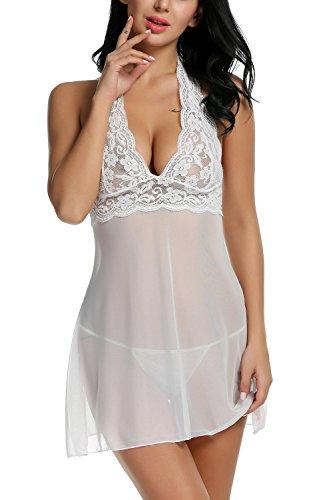Caeasar Damen Reizwäsche Dessous Spitze Durchsichtig Nachtmäntel Sexy Nachtkleid Erotik Wäsche Negligee 4 Farben, Größe M, Farbe Weiß
