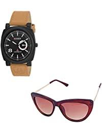 Magjons Fashion Black Analog Watch And Sunglassses Combo For Men And Women - B0735CBF47