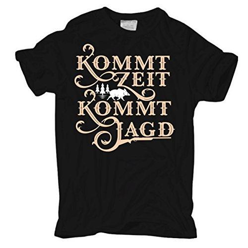 Männer und Herren T-Shirt Kommt Zeit kommt Jagd (mit Rückendruck) Körperbetont schwarz
