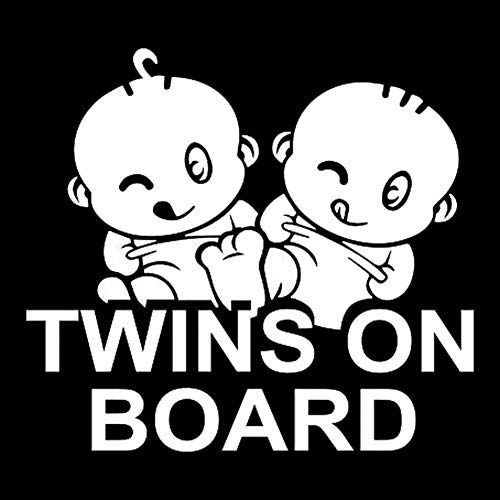 MACUH Home Lustige Zwillinge auf Bord Buchstaben gedruckt wasserdicht reflektierende Sicherheit Auto Aufkleber - weiß - Reflektierende Eisen Auf