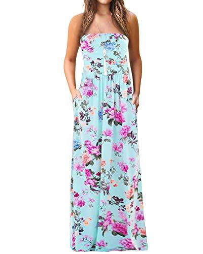 YOINS Robe Longue Femme Robe Bohême Été Chic Imprimé Florale Robe De Plage sans Manches Robe Rayures Tunique Maxi, Épaules-bleu Clair, EU 46