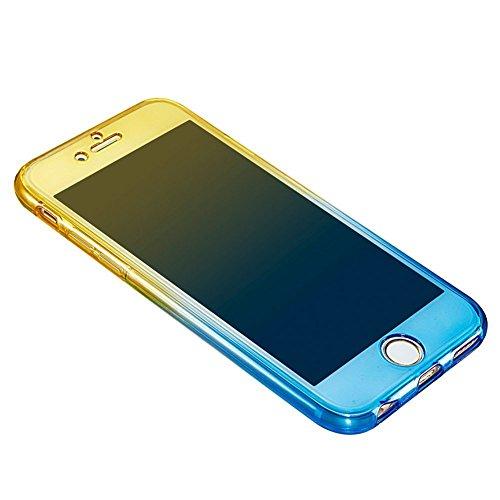 SKYXD Pour Iphone 5/5S/SE Coque, Avant + Arrière Protection Total 360 degrés Etui Pour Iphone 5/5S/SE Soft Transparent Bleu/Violet Gradient Housse Premium Ultra Slim Mince Silicone TPU Back Cover Case Color#4