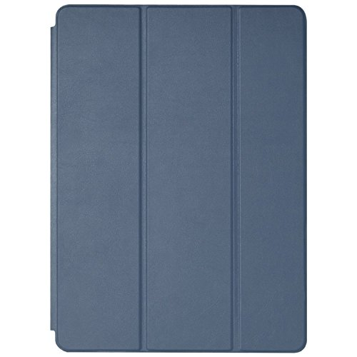 Ultra Thin Smart & Foldable Leather Flip Case with Magnetic Sensor Auto Wake/Sleep Function for iPad Air 2 Mid Night (Blue) Model Number A1566/A1567