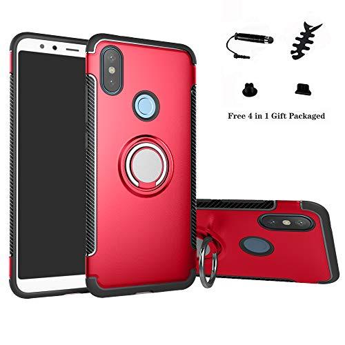 LFDZ Xiaomi Redmi Note 6 Anillo Soporte Funda 360 Grados Giratorio Ring Grip con Gel TPU Case Carcasa Fundas para Xiaomi Redmi Note 6 / Redmi Note 6 Pro Smartphone (Not fit Redmi 6),Rojo