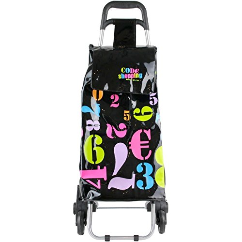 Promobo Chariot De Courses Shopping A Roulettes Collection Luxe Pop Art Chiffre 6 Roues