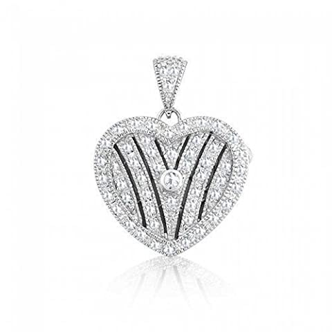 Bling Jewelry 925 Silver CZ Pave Locket Heart Pendant Rhodium Plated
