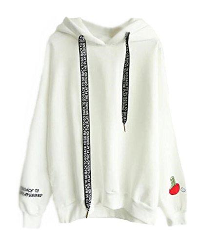 AILIENT Donna Felpe Tumblr Con Cappuccio Invernali Elegante Maglia Pullover Outwear Stampato Hoodie Giacca Casuale Sport Taglie Forti Kapuzenpullover Cappotto White