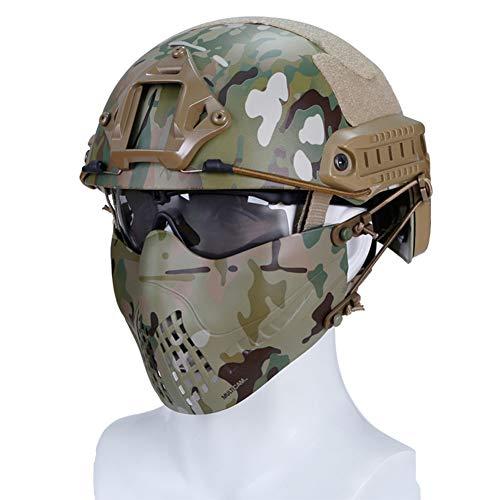 QZY Militärische Taktische Maske V5 Halb Gesichts Gitter Maske Mit Ohrenschutz Für Die Jagd Schießen Airsoft Paintball Schutz Armee Kampf CS Spiel 6 Farben-CK-230,B