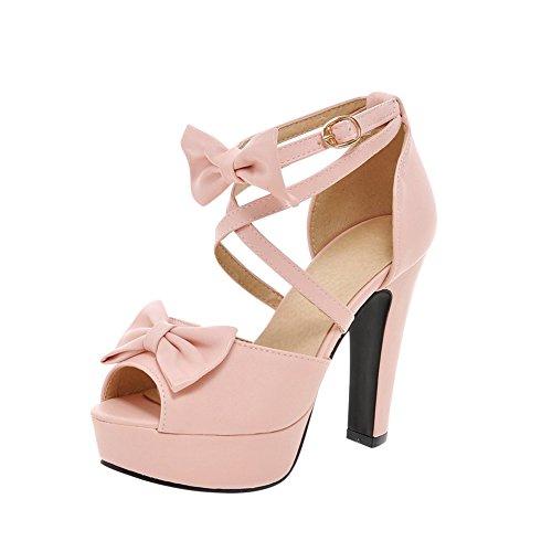 UH Damen Blockabsatz Peep Toe High Heels Plateau Knöchelriemchen Pumps mit Schleife und Schnalle Party Schuhe