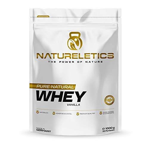 NATURELETICS VANILLE 1kg natürliches Premium Whey Protein aus Deutschland, ohne Zusatz von Zucker, Süßstoffen uns Sojalecithin, Eiweißpulver mit einem hohen BCAA Anteil von 22,6{0b583850f39aecf0f61382e60ab3378b4b68f8c3cc0a0a1ea4603fff438ce578}