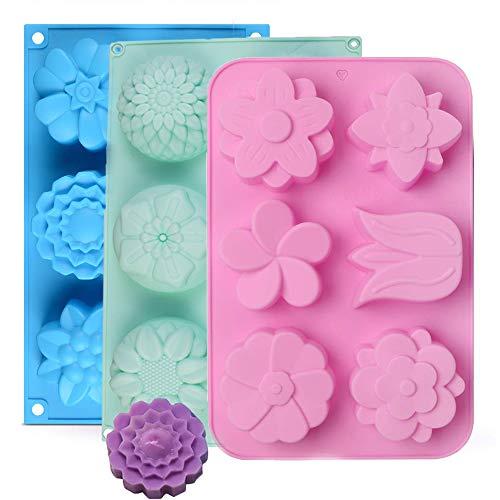 3Pcs Silikonform Seifenform 6 Hohlräume Rund Silikon Seife Formen für handgemachte Seife 6 Hohlgabel Soap Molds