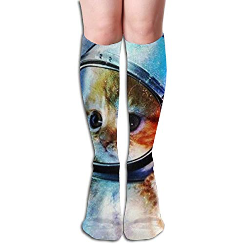 (jiilwkie Astronaut Cat In Space Design Elastic Blend Long Socks Compression Knee High Socks (65cm) for Sports)