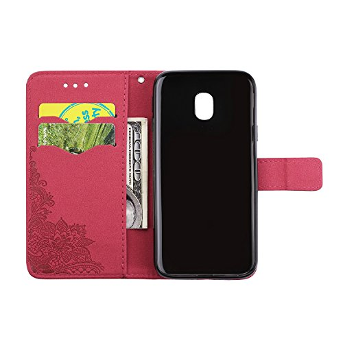 Phenix Blumen Prägemuster Faux Leder Horiontal Folio Stand Case mit Lanyard Card Slots für Samsung Galaxy J3 (2017) Europaen Edition ( Color : Black ) Red