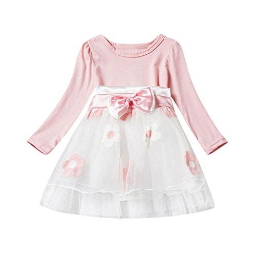JERFER Nette Baby Kleinkind-Mädchen Langarm Blume Bowknot Falten Tüll Tutu Partei Hochzeit Prinzessin Kleid 0-2T (24M, (Tutu Billig)