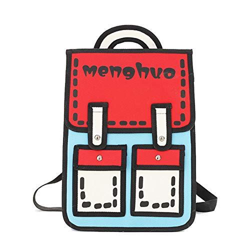 Rucksäcke Teenager Mädchen Coole 2D Zu Cartoon Cartoon Comic Schultasche Reise Buch Tasche Laptop Rucksack Canvas Rucksack,Red-28 * 10 * 38cm -