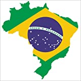 Posterlounge Stampa su PVC 80 x 80 cm: Brazil with Flag di Editors Choice