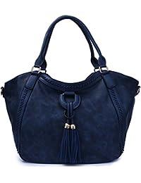 99e1a91b21 Oruil Fashion Trend Handbag For Women PU Synthetic Leather With Fringe  Shoulder Strap Messenger Bag Big…