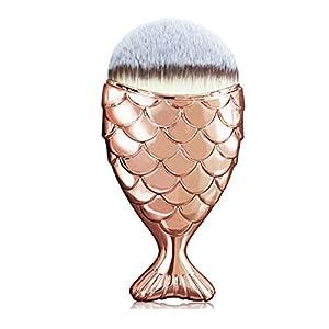 Pincel de maquillaje con purpurina de cola de pez de sirena, creativo, multiusos, cepillo cosmético, color dorado