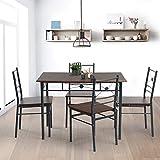 Innovareds Stilvolle Esszimmer Tisch 4Klappstühle Set 5x Vintage Retro Küche Esszimmer Tisch Stühle Set Dunkelbraun